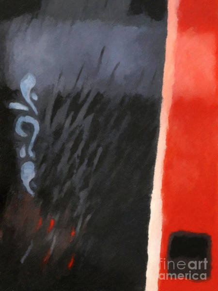 Non-figurative Wall Art - Painting - Black And Red Composition by Lutz Baar