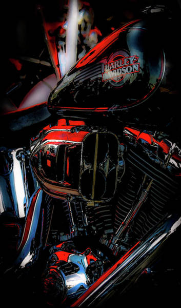 Photograph - Black And Red Harley 5966 H_2 by Steven Ward