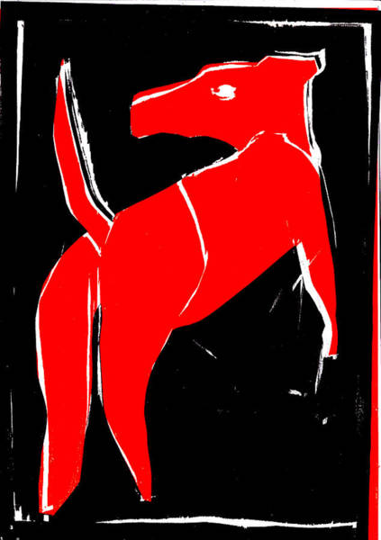 Digital Art - Black And Red Series - Dog 2 by Artist Dot