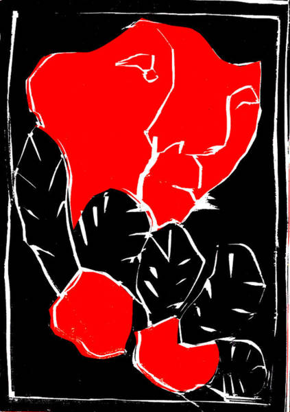 Digital Art - Black And Red Series - Face In Leaves 2 by Artist Dot
