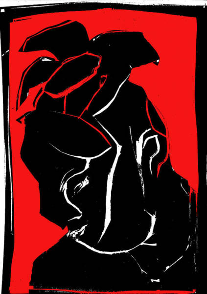 Digital Art - Black And Red Series - Flower Hat by Artist Dot