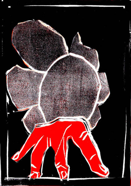 Digital Art - Black And Red Series - Hand And Flower 2 by Artist Dot