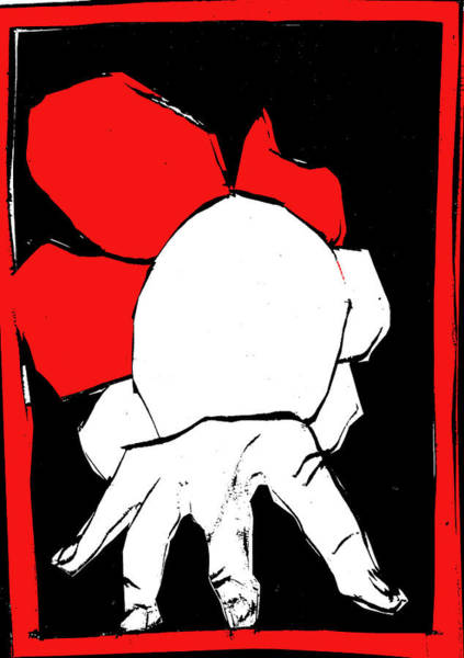 Digital Art - Black And Red Series - Hand And Flower by Artist Dot