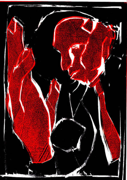 Digital Art - Black And Red Series - Man And Hand 2 by Artist Dot
