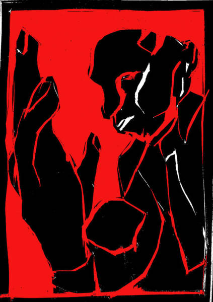 Digital Art - Black And Red Series - Man And Hand by Artist Dot