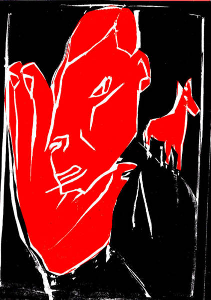 Digital Art - Black And Red Series - Man Leaves Horse 2 by Artist Dot