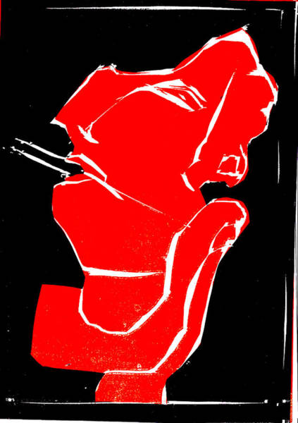 Digital Art - Black And Red Series - Smoker Smoking 2 by Artist Dot