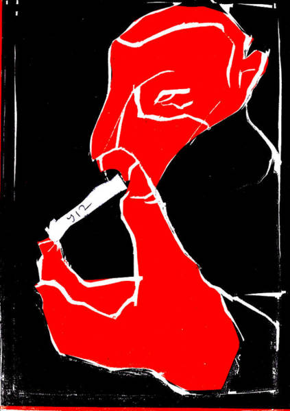 Digital Art - Black And Red Series - Smoker Smoking At Hand 2 by Artist Dot