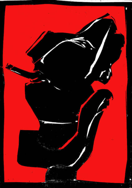 Digital Art - Black And Red Series - Smoker Smoking by Artist Dot