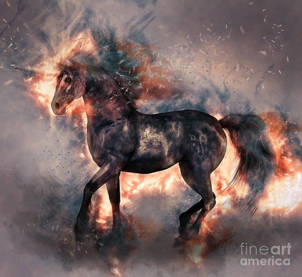 Digital Art - Fire Elemental Unicorn by Elle Arden Walby