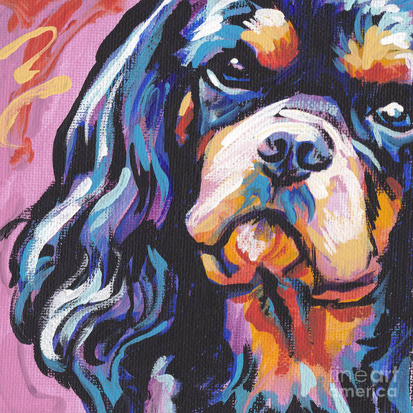 Spaniels Painting - Black And Tan Cav by Lea S