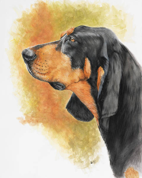 Painting - Black And Tan Coonhound In Watercolor by Barbara Keith