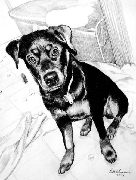 Wall Art - Drawing - Black And Tan Dog by Robert Korhonen