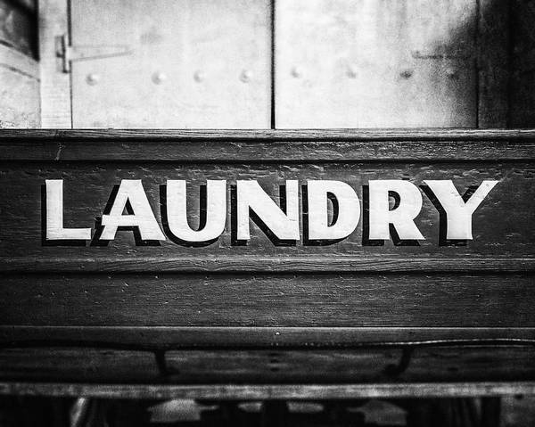 Bathroom Wall Art - Photograph - Black And White 1800s Laundry Wagon Photograph by Lisa Russo