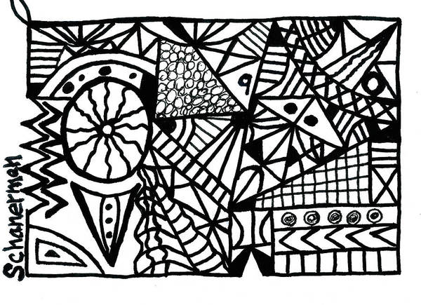 Drawing - Black And White 9 by Susan Schanerman