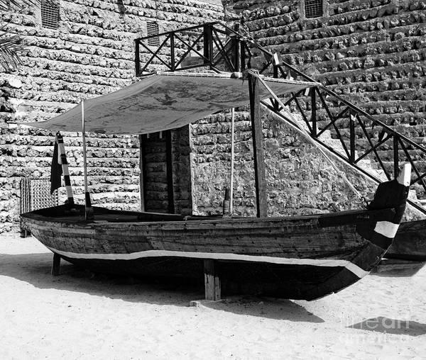 Wall Art - Photograph - Black And White Al Abra Transport Boat Dubai by Chris Smith