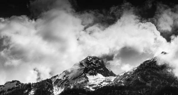 Photograph - Black And White Alpine Mountains And Clouds by John Williams