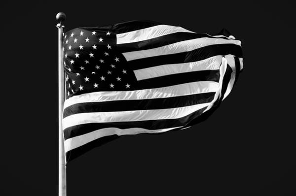 American Flag Wall Art - Photograph - Black And White American Flag by Steven Michael