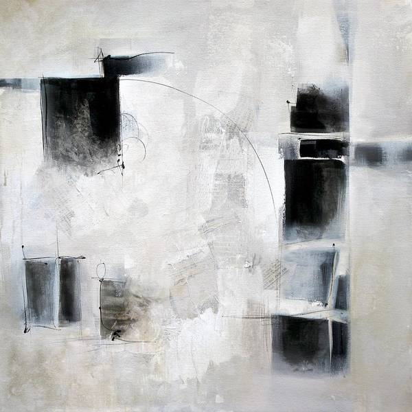 Wall Art - Painting - Black And White And In Between by Karen Hale