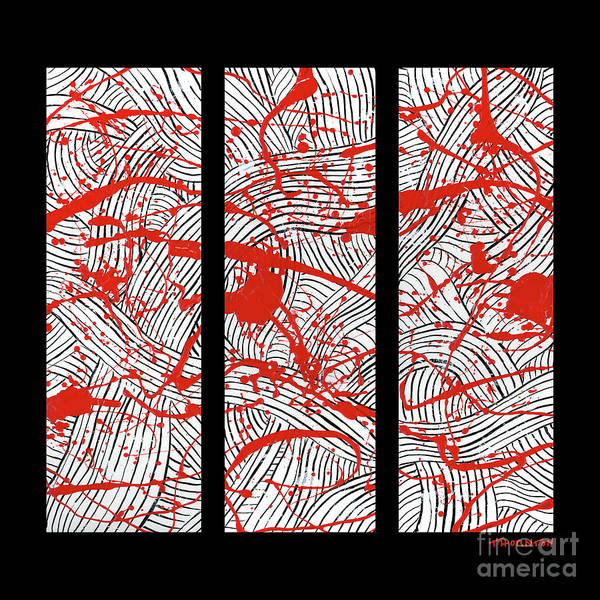 Painting - Black And White And Red All Over by Diane Thornton