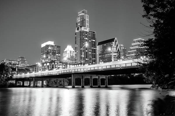 Photograph - Black And White Austin Skyline On The River - Texas Capitol by Gregory Ballos