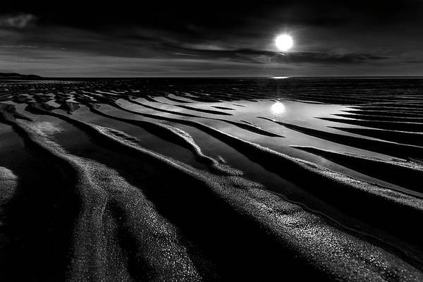 Wall Art - Photograph - Black And White Beach - Low Tide by Dapixara Art