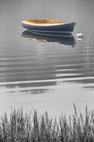 Wall Art - Photograph - Black And White Blue Boat Reflections by Dapixara Art