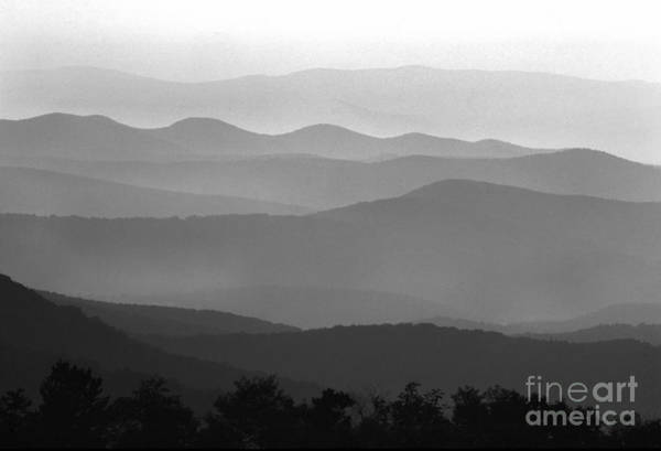 Black And White Blue Ridge Mountains Art Print