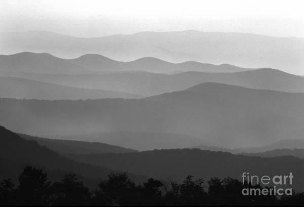 Shenandoah Wall Art - Photograph - Black And White Blue Ridge Mountains by Thomas R Fletcher