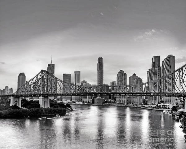 Wall Art - Photograph - Black And White Brisbane Landscape by Chris Smith