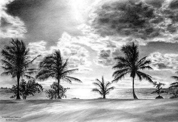 Drawing - Black And White Caribbean Sunset by Kelli Swan