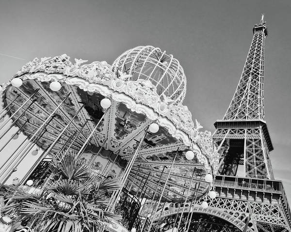 Merry Go Round Photograph - Black And White Carousel by Delphimages Photo Creations