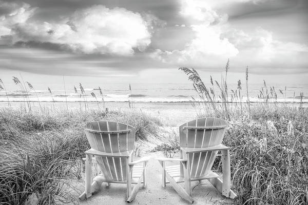 Muscovy Photograph - Black And White Chairs At The Sea by Debra and Dave Vanderlaan