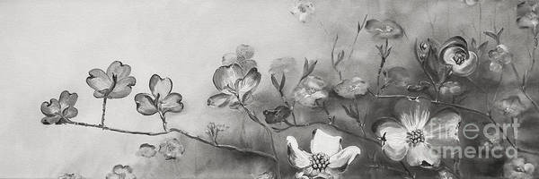 Painting - Black And White Cherokee Dogwood by Jan Dappen