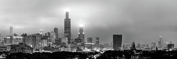 Photograph - Black And White Chicago Skyline City Panorama by Gregory Ballos