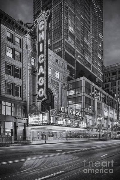 Photograph - Black And White Chicago Theatre At Dusk  - 175 North State Street - Chicago Illinois by Silvio Ligutti