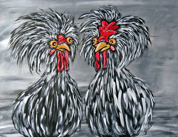 Priceless Painting - Black And White Chickens by Char Benson Arts