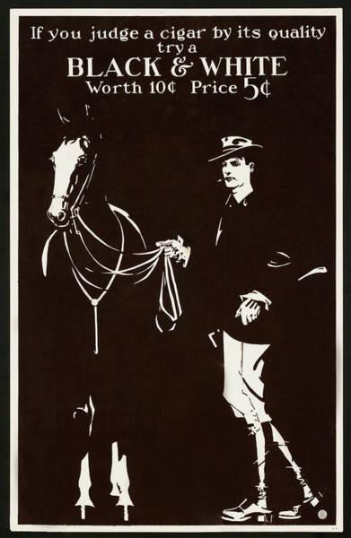 Digital Art - Black And White Cigars Poster by Carlos Diaz