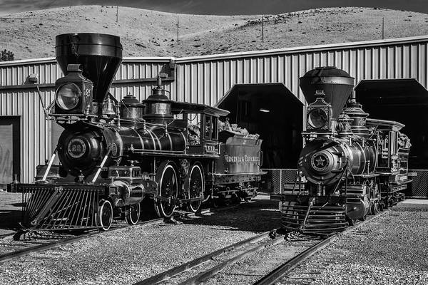 Wall Art - Photograph - Black And White Classic Trains by Garry Gay
