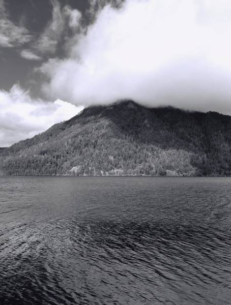 Photograph - Black And White Clouds Over Lake Crescent by Dan Sproul