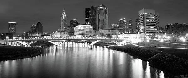 Photograph - Black And White Columbus Ohio Skyline Panorama by Gregory Ballos