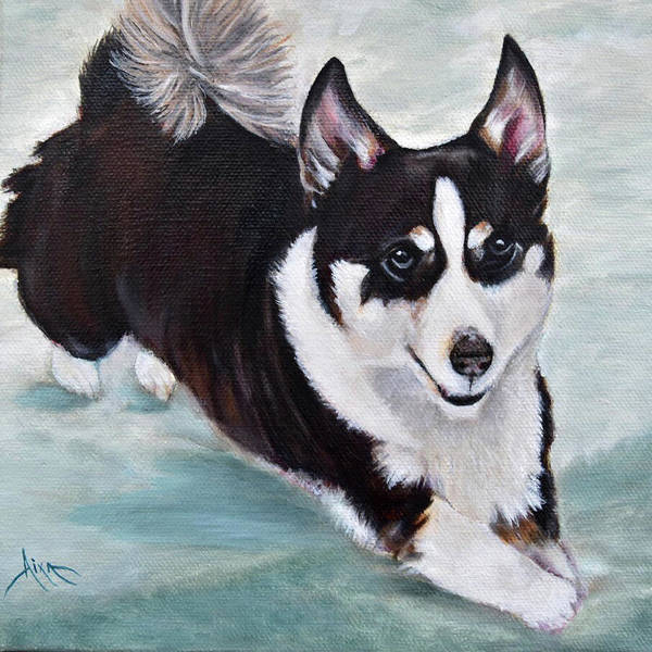 Wall Art - Painting - Black And White Corgi by Aixa Renta-DeLuca