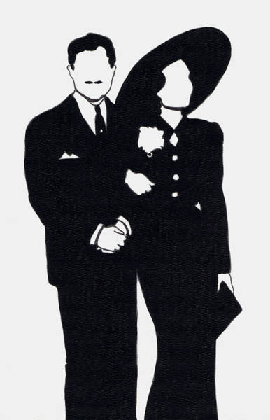 Nostalgia Drawing - Black And White Couple by Mel Thompson