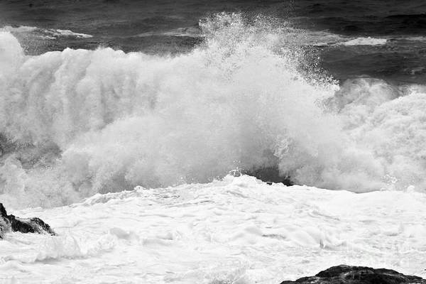 Photograph - Black And White Crashing Surf by Adam Jewell