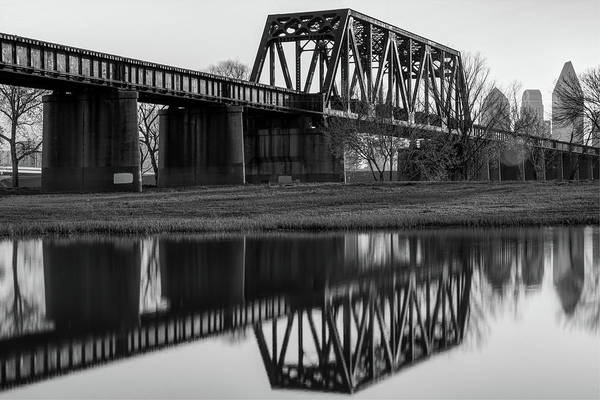 Photograph - Black And White Dallas Bridge And Skyline Reflections by Gregory Ballos