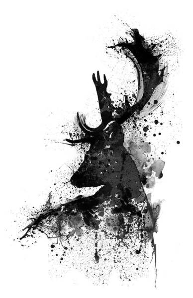 Monochrome Painting - Black And White Deer Head Watercolor Silhouette by Marian Voicu