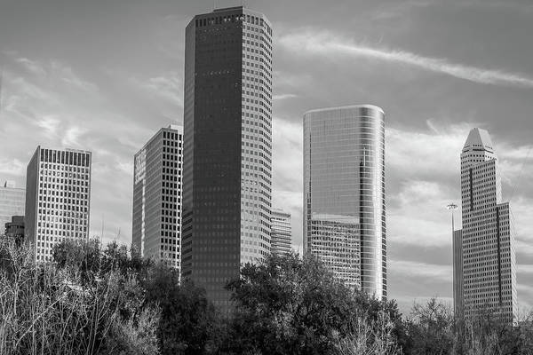 Photograph - Black And White Downtown Houston Texas Skyline by Gregory Ballos