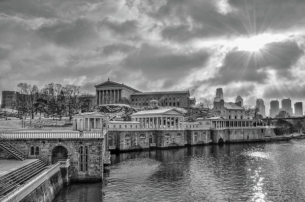 Photograph - Black And White - Fairmount Waterworks And Museum Of Art by Bill Cannon