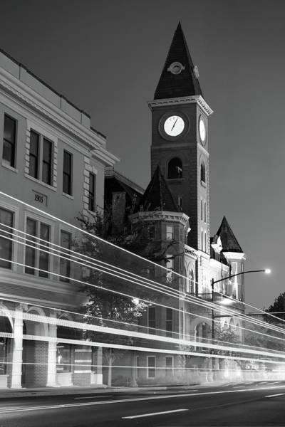Fayetteville Photograph - Black And White Fayetteville Arkansas Skyline Light Trails by Gregory Ballos