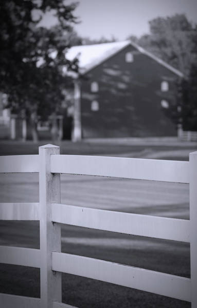 Photograph - Black And White Fence And Barn by Dan Sproul